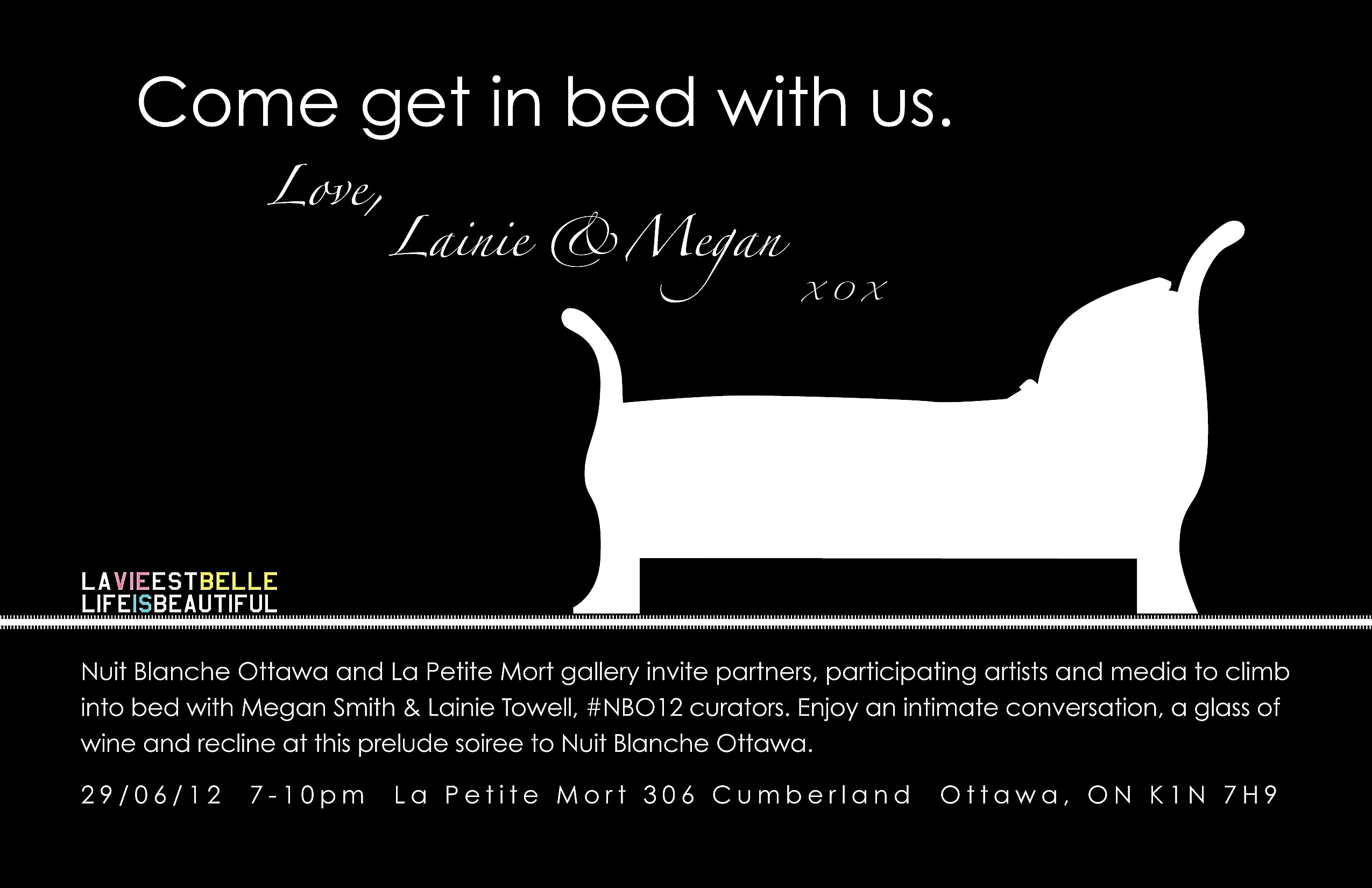 Come get in bed with us. love, Lainie & Megan xox